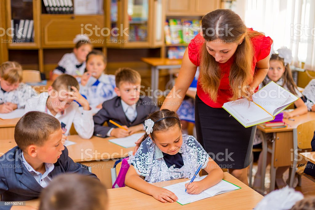 classroom with children stock photo