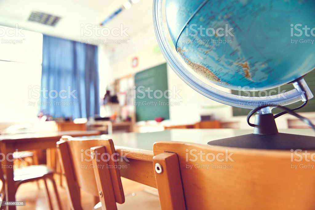 Classroom with globe stock photo