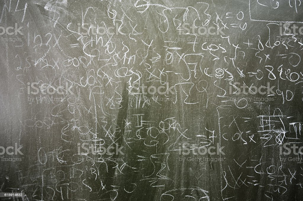 classroom's chalkboard with abstract formulas on it stock photo