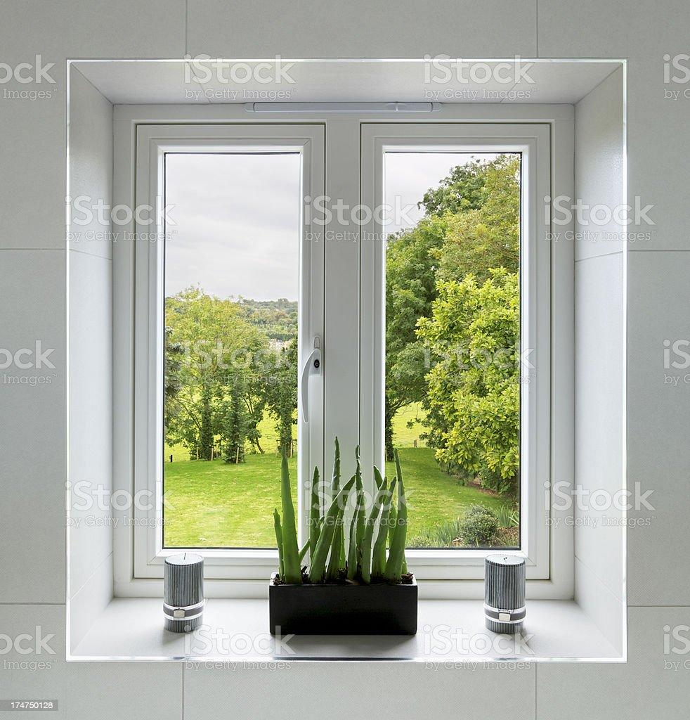 classy bathroom window stock photo