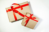 Classy Christmas gifts box presents on white background