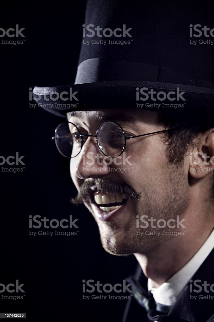 Classy Mustache Gentleman / Business Man With Top Hat royalty-free stock photo