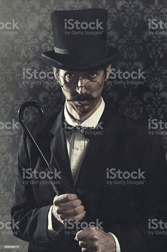 Classy Mustache Gentleman / Business Man With Top Hat stock photo