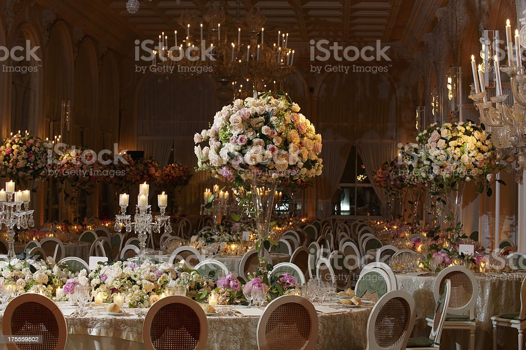 Classy wedding setting stock photo
