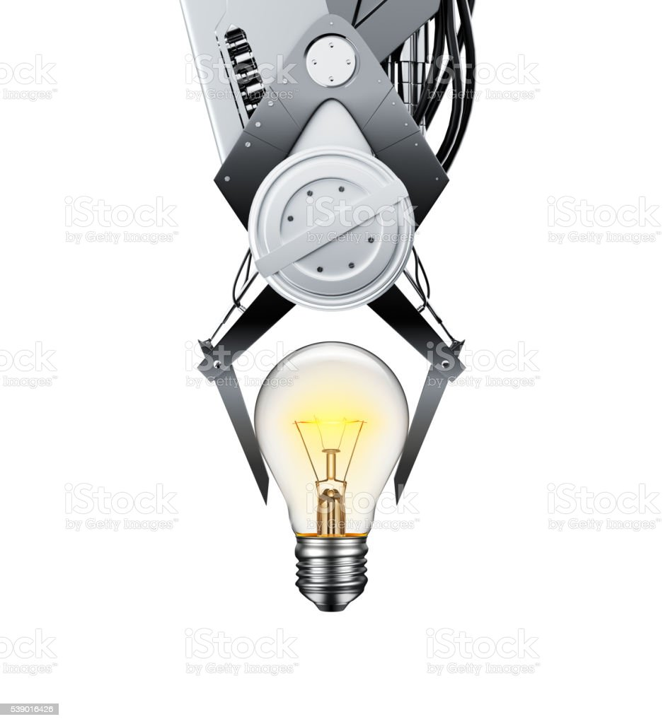 Claw Machine Lifting Glowing Light Bulb stock photo