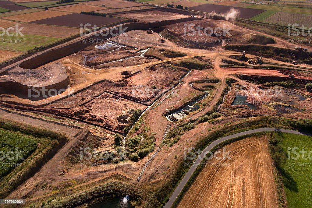 Clay and gravel pit - aerial view stock photo
