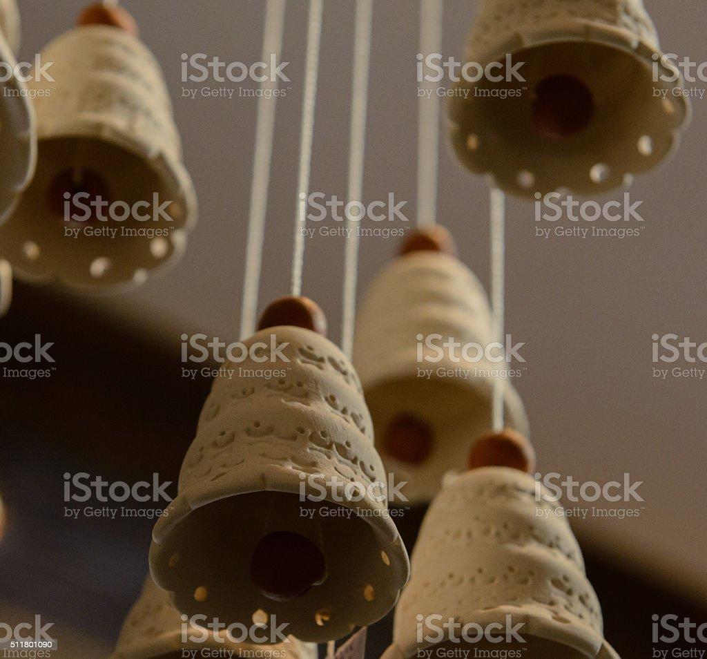 Clay bells folk art and craft stock photo