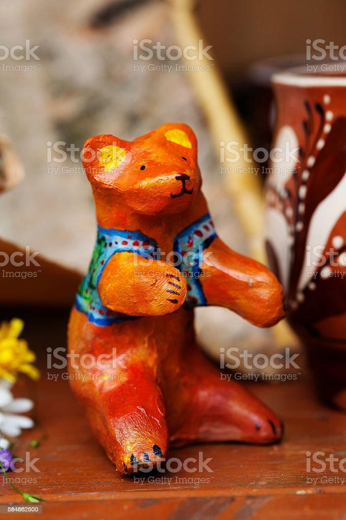 clay ceramic toy bear still life beautiful cute kids stock photo