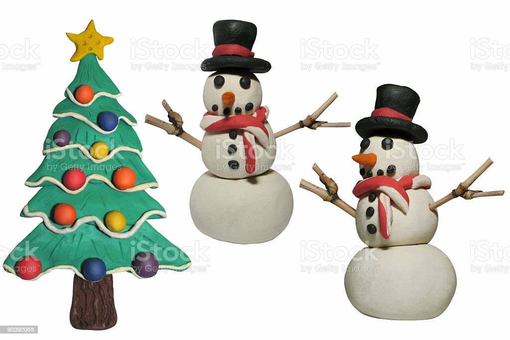 Clay Christmas Figures (Isolated) royalty-free stock photo