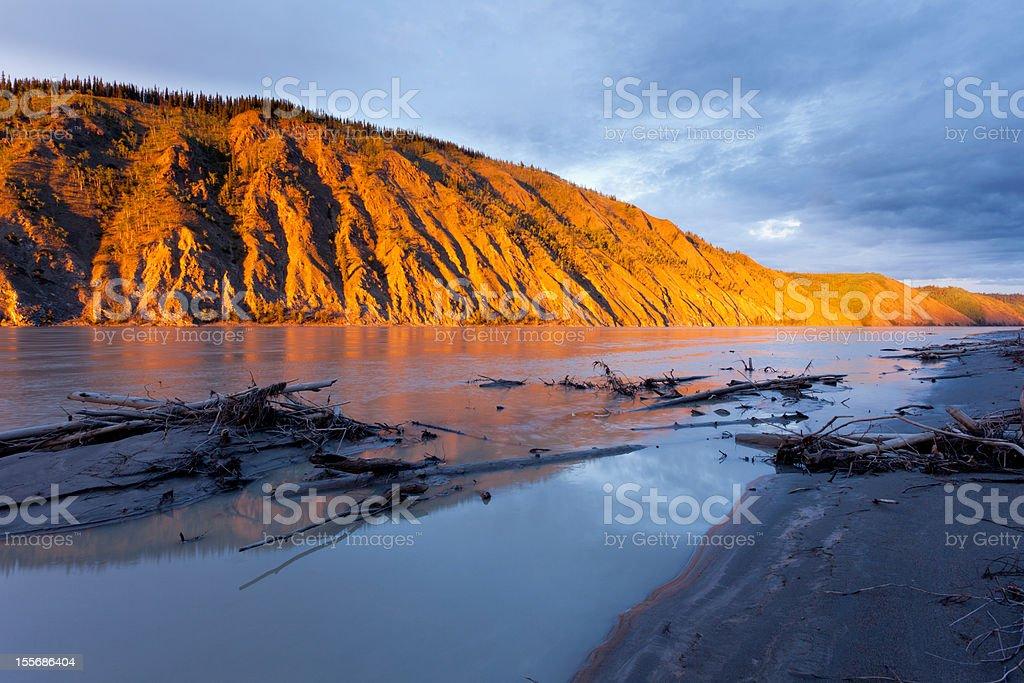 Clay cliff at Yukon River near Dawson City royalty-free stock photo