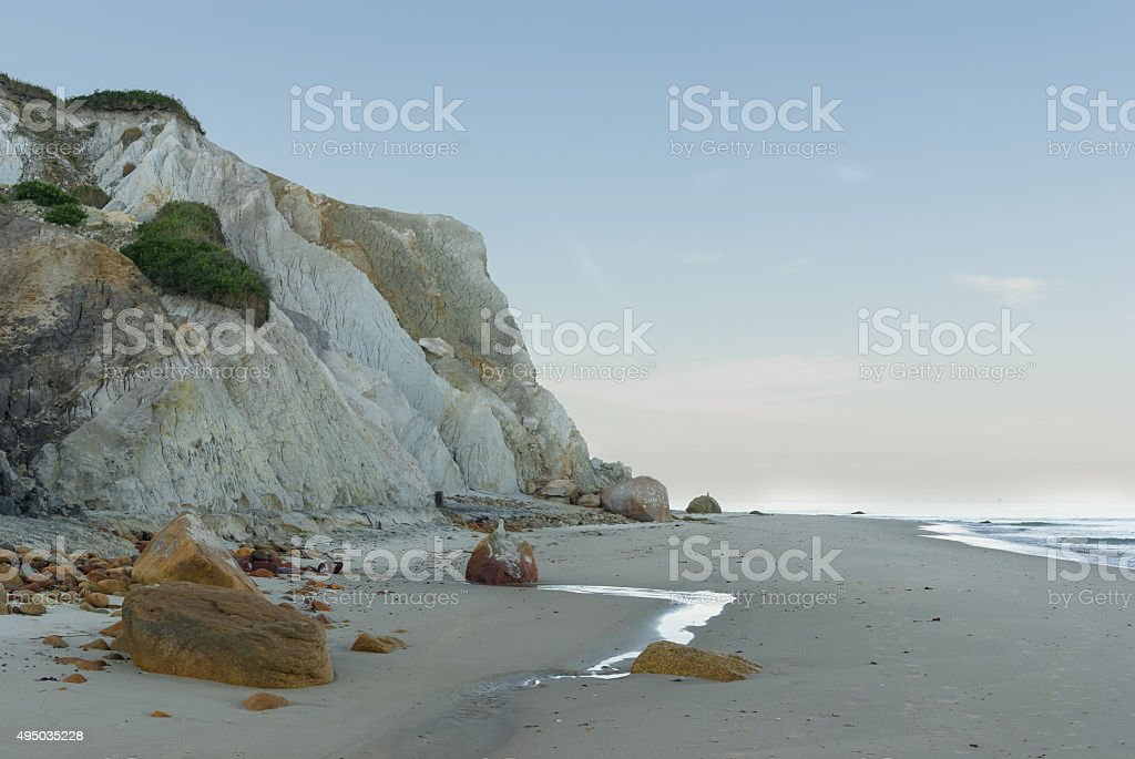 Clay Cliffs on Aquinnah Beach stock photo