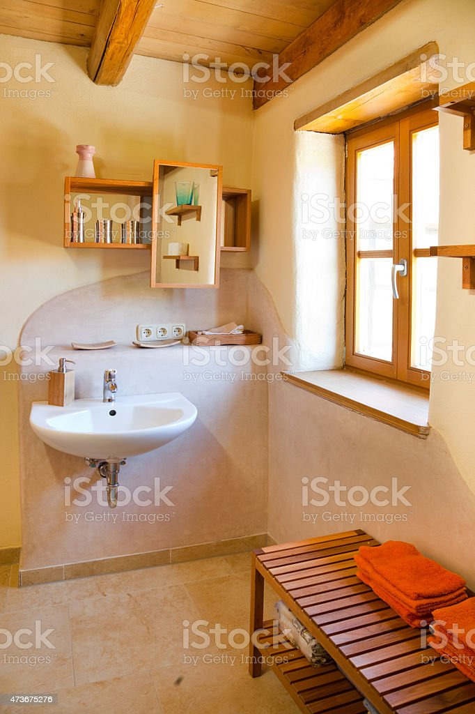 clay courtyard bathroom stock photo