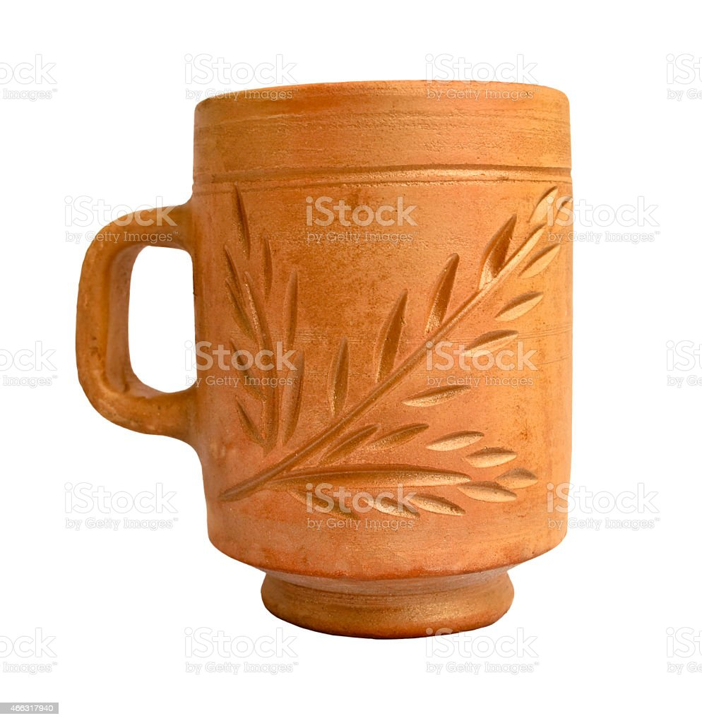 Clay cup stock photo