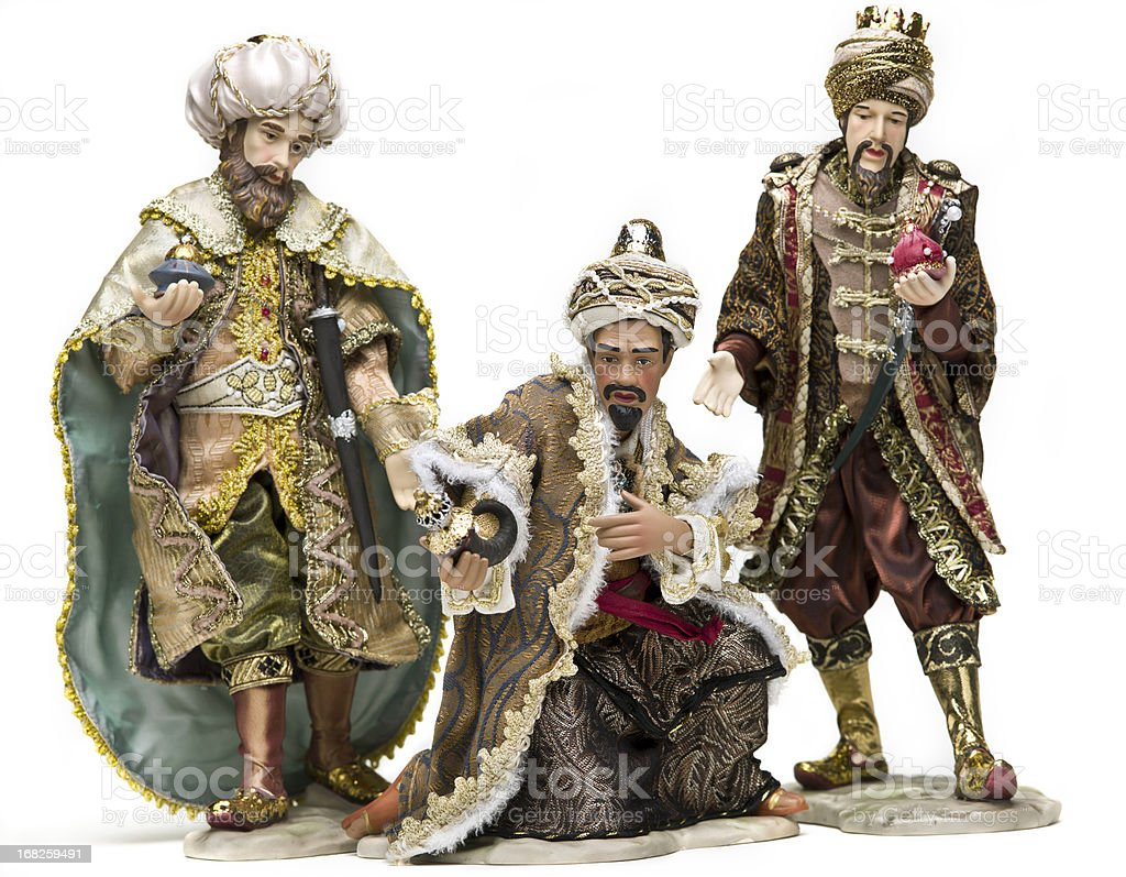 clay figurines depicting the three wise men of epiphany stock photo