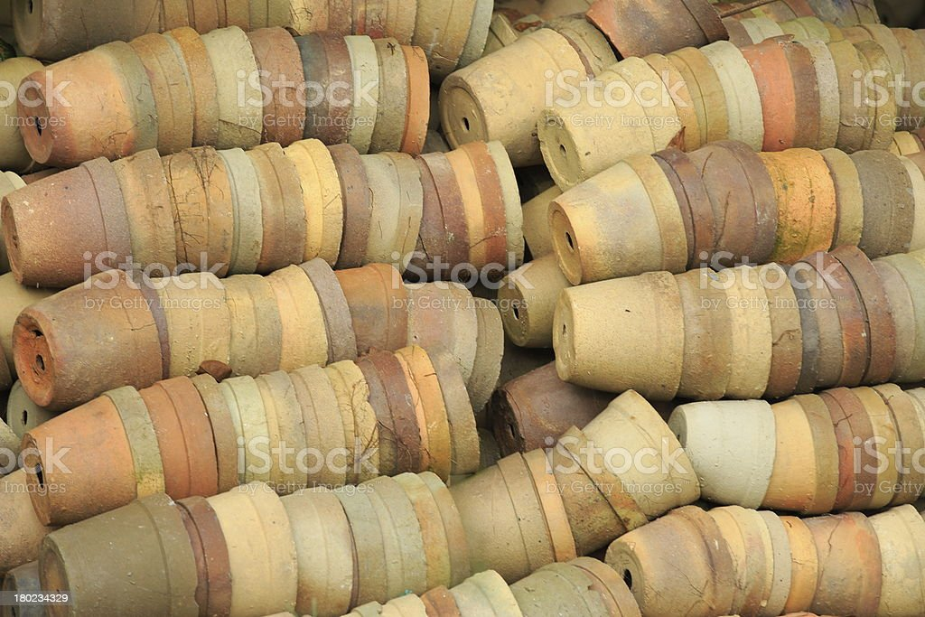 clay flower pots royalty-free stock photo