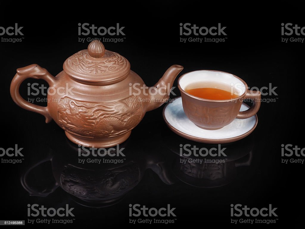 Clay, hand made set for the Chinese tea ceremony stock photo