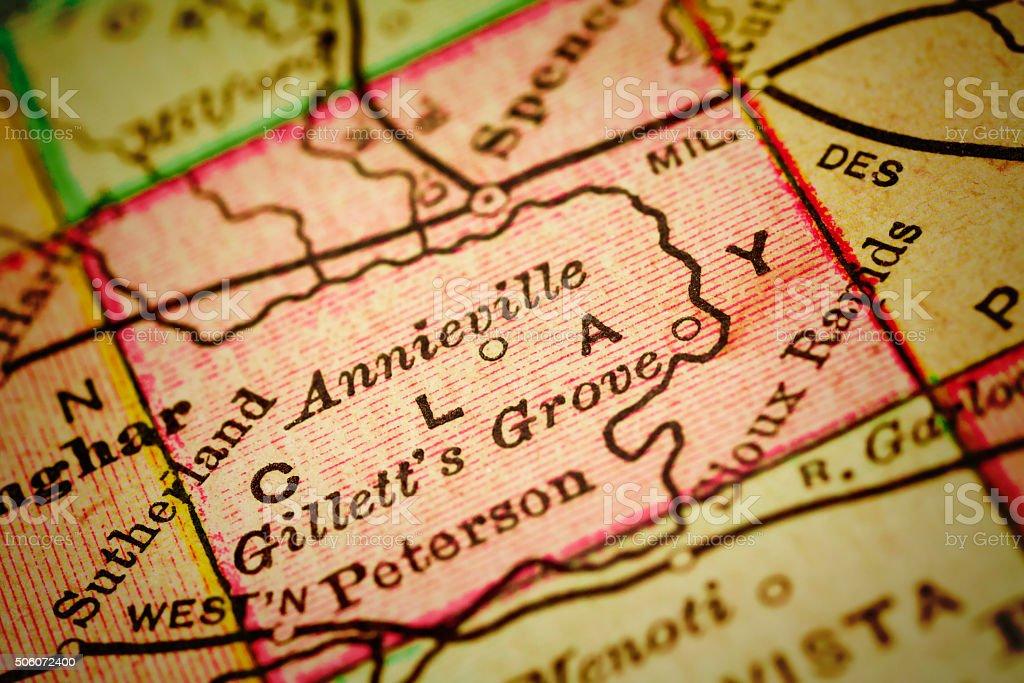 Clay | Iowa County maps stock photo
