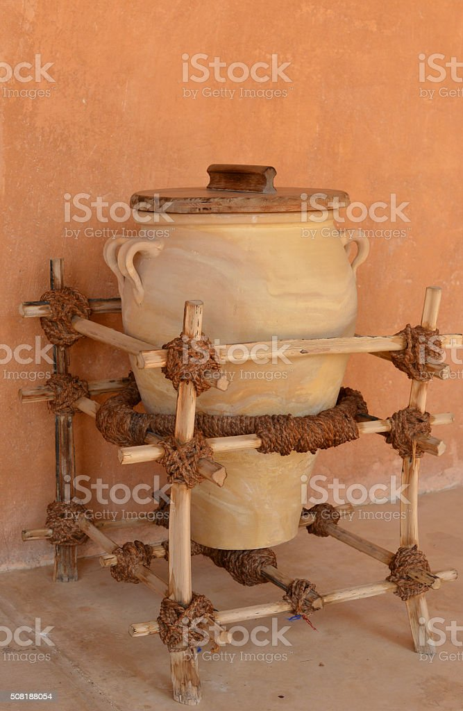 Clay jar for water, Arabia stock photo