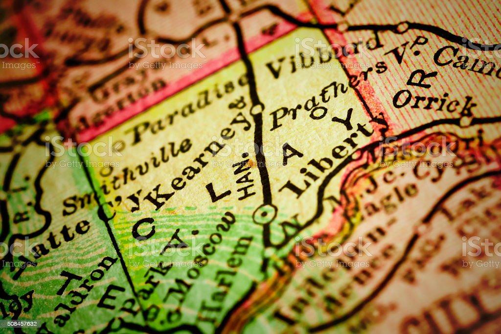 Clay | Missouri County maps stock photo