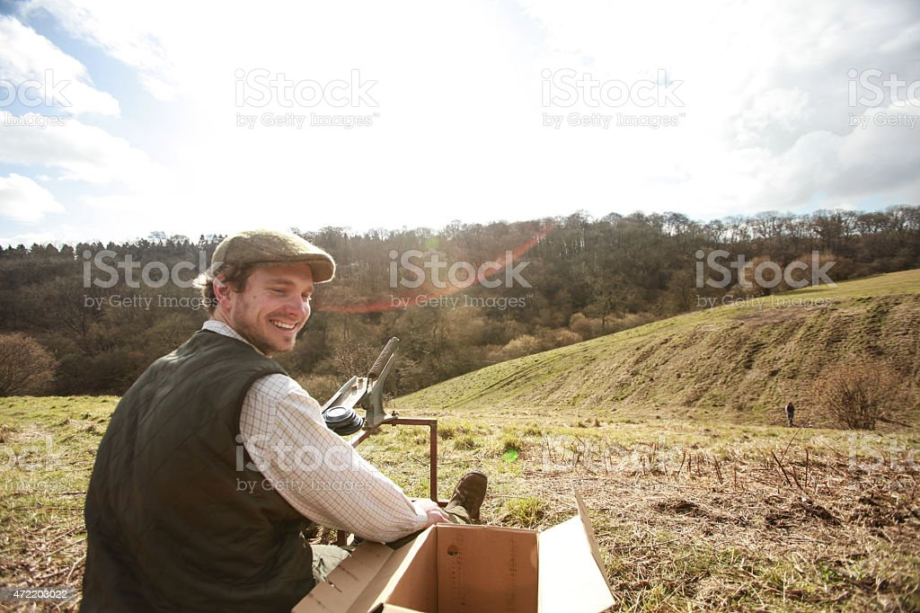 Clay pigeon Shooting stock photo