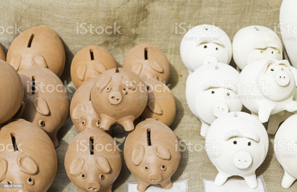 Clay piggy banks stock photo