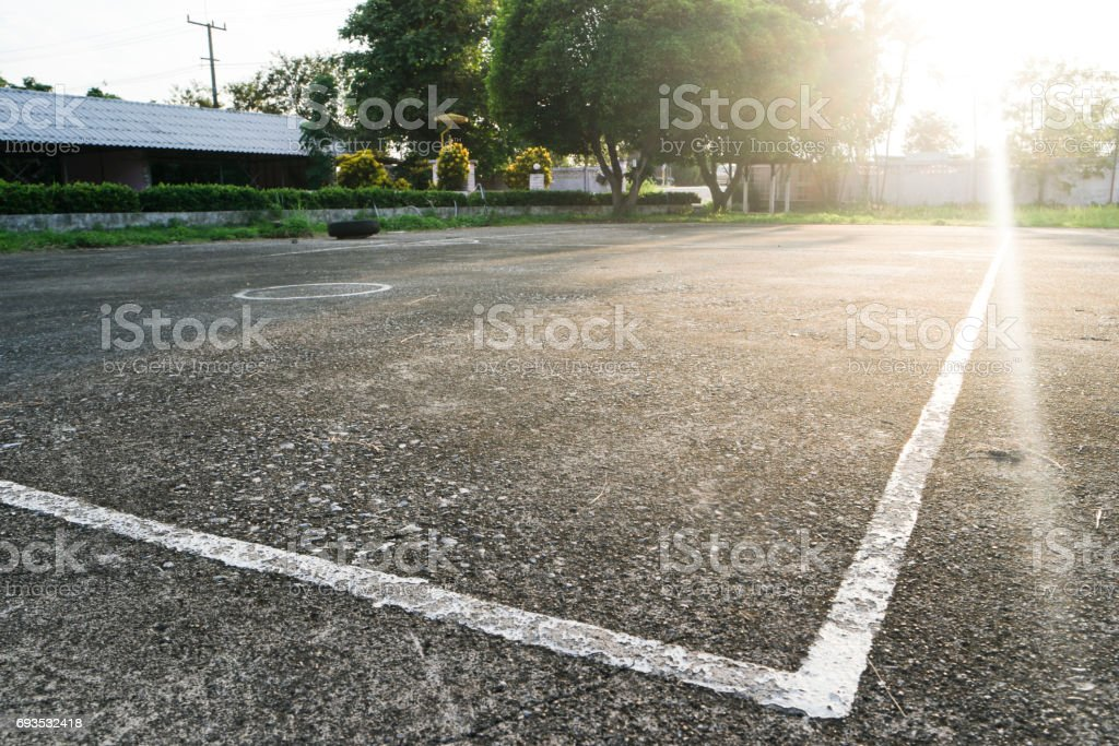 Clay pitch street volleyball court stock photo