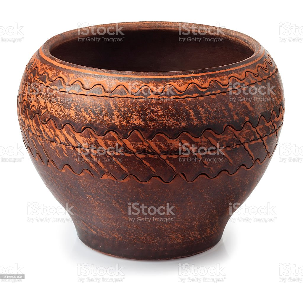 Clay pot for cooking isolated on white stock photo