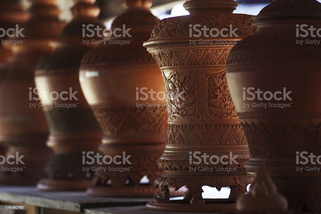 Clay pot for sale royalty-free stock photo