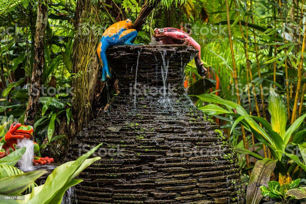 clay pot fountain stock photo