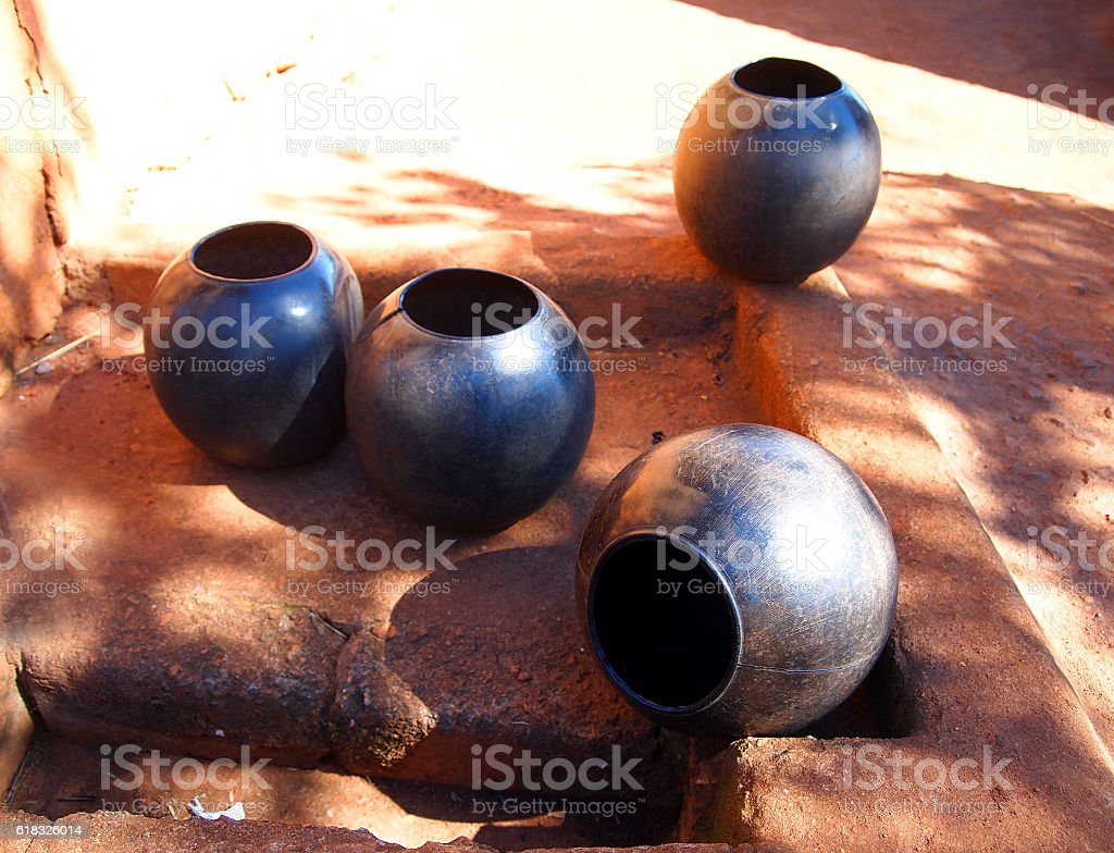 Clay pots. African traditional ethnic crockery. stock photo