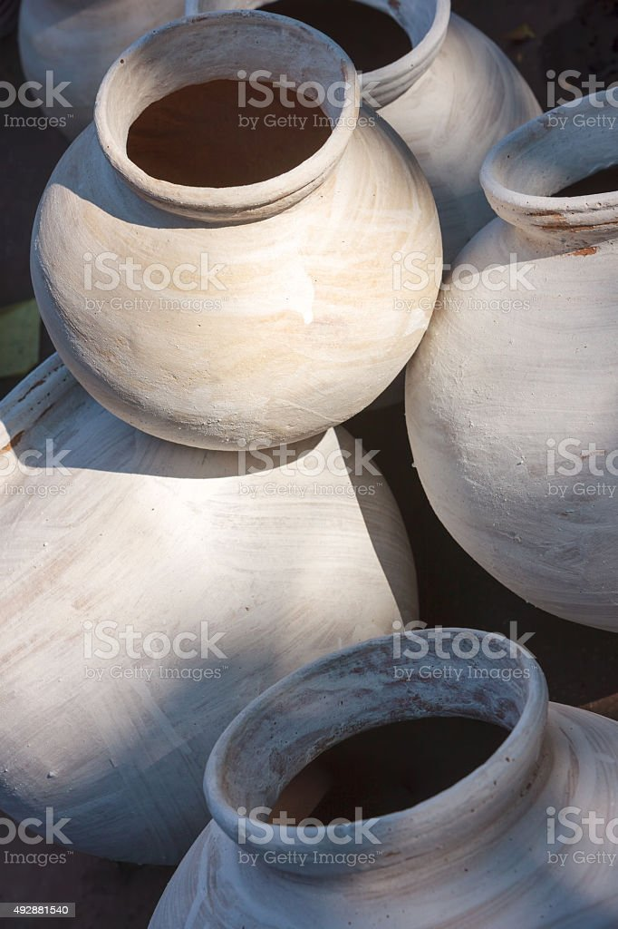 Clay pots for sale. India stock photo