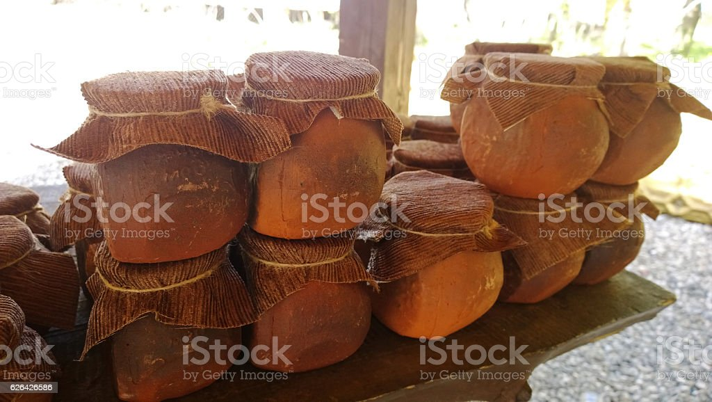 Clay pots on the table stock photo