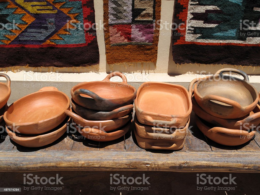 Clay pottery for sale stock photo