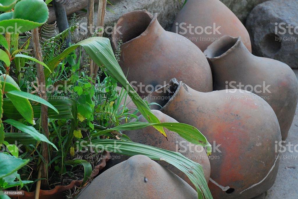 Clay Pottery On Display stock photo