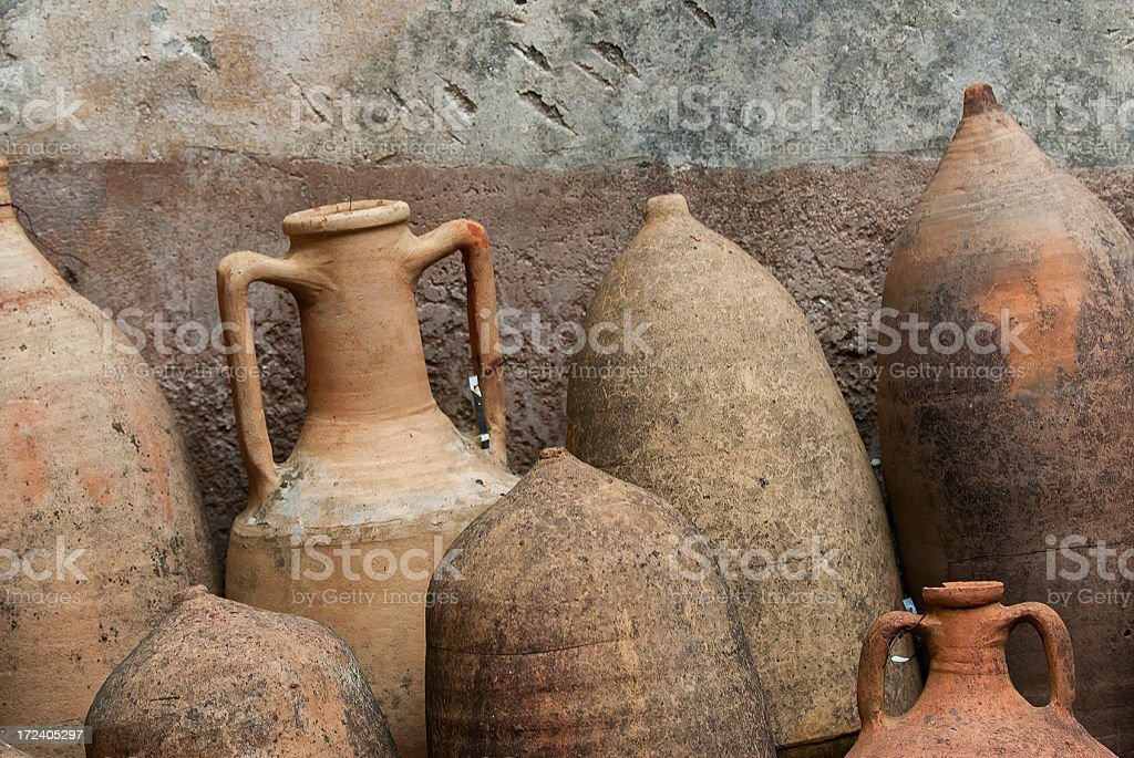 Clay pottery, Pompeii stock photo
