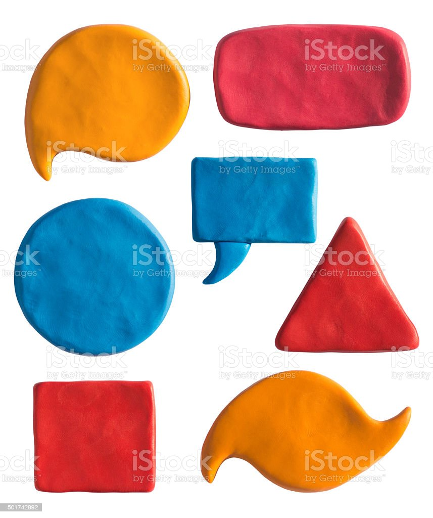 Clay putty, plasticine handmade shapes and badges templates. stock photo
