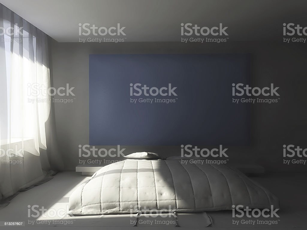3D clay render of a bedroom blue screen stock photo