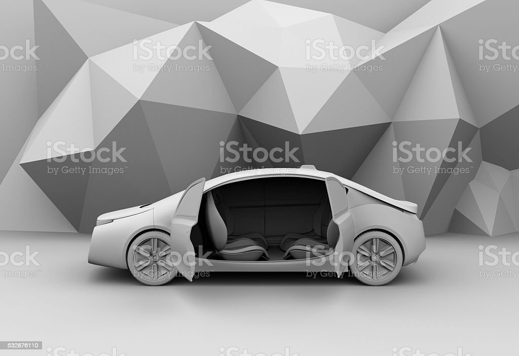 Clay rendering of self-driving car model stock photo