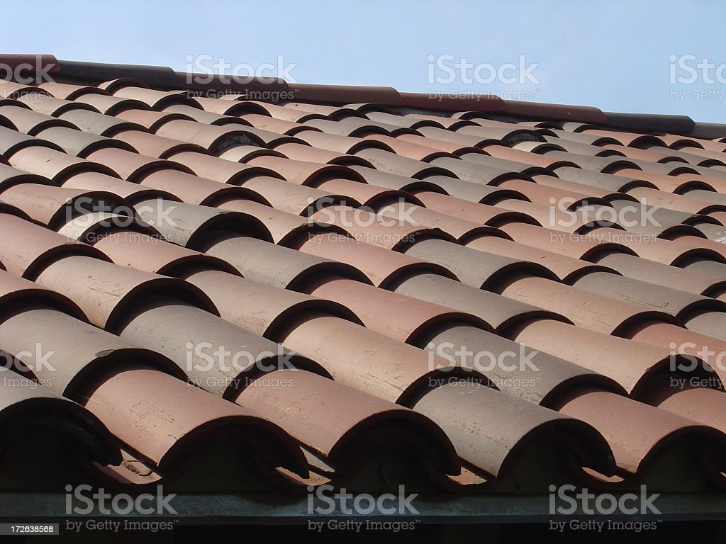 Clay Roof Tile on rooftop royalty-free stock photo