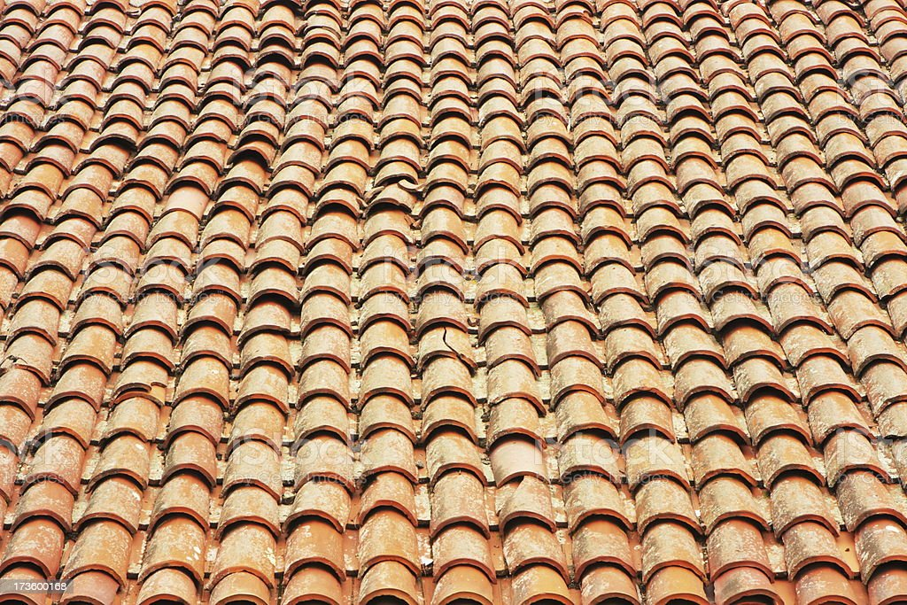 Clay Roof Tile Terracotta Pattern royalty-free stock photo