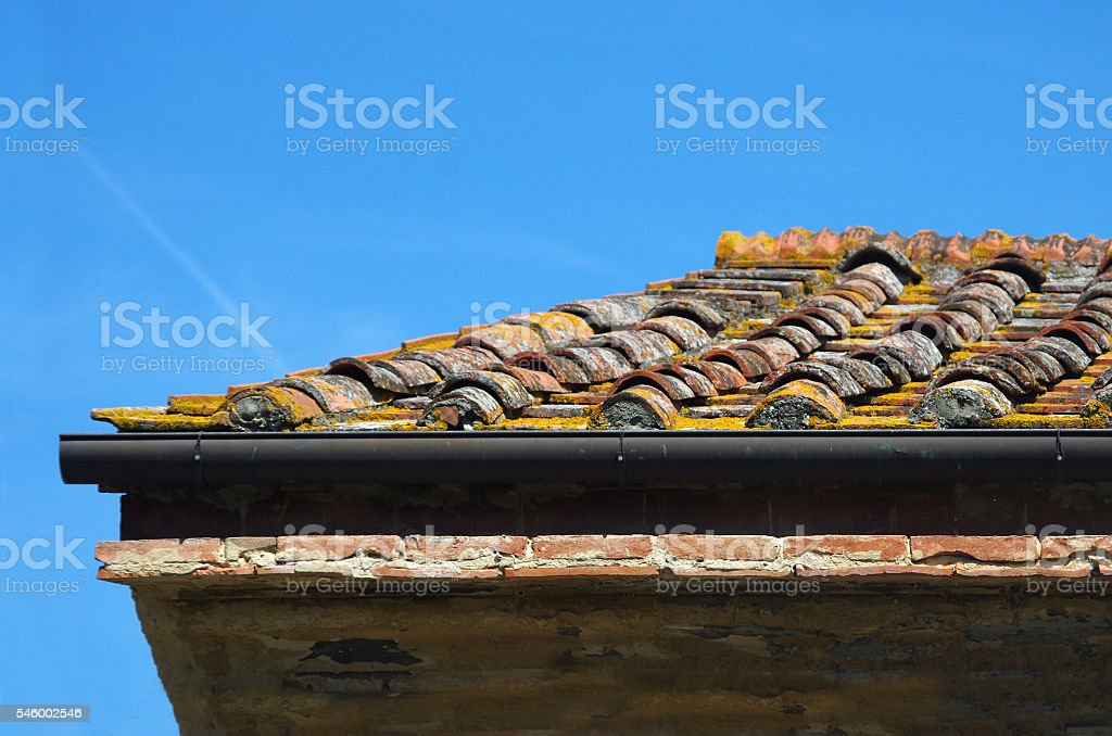 clay roof tiles of traditional building stock photo