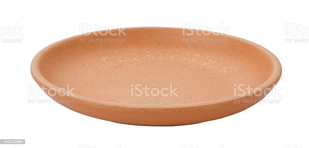 Clay saucer isolated on white. stock photo