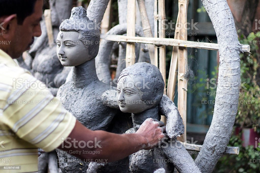 Clay sculpture in Kumartuli. stock photo