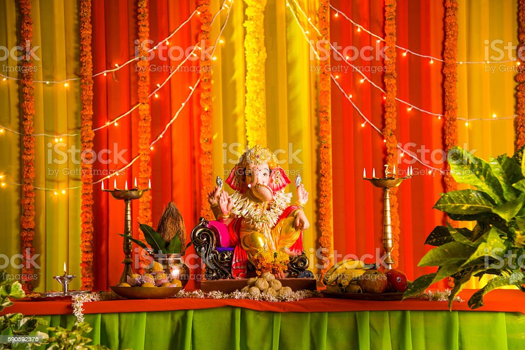 clay statue of an Indian god Lord Ganesha stock photo