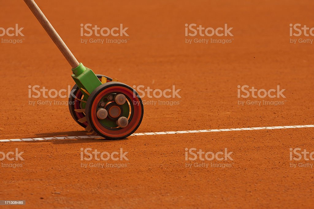 Clay tennis court harvest event stock photo