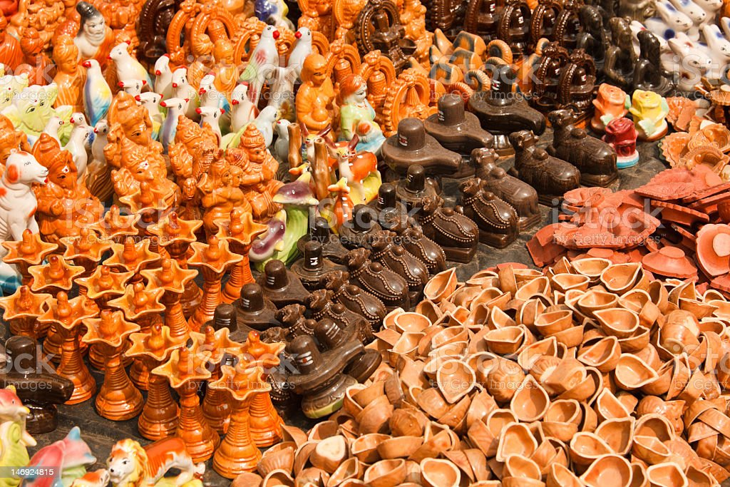 Clay toys and accessories for pooja (temple worship). Tiruvannam royalty-free stock photo