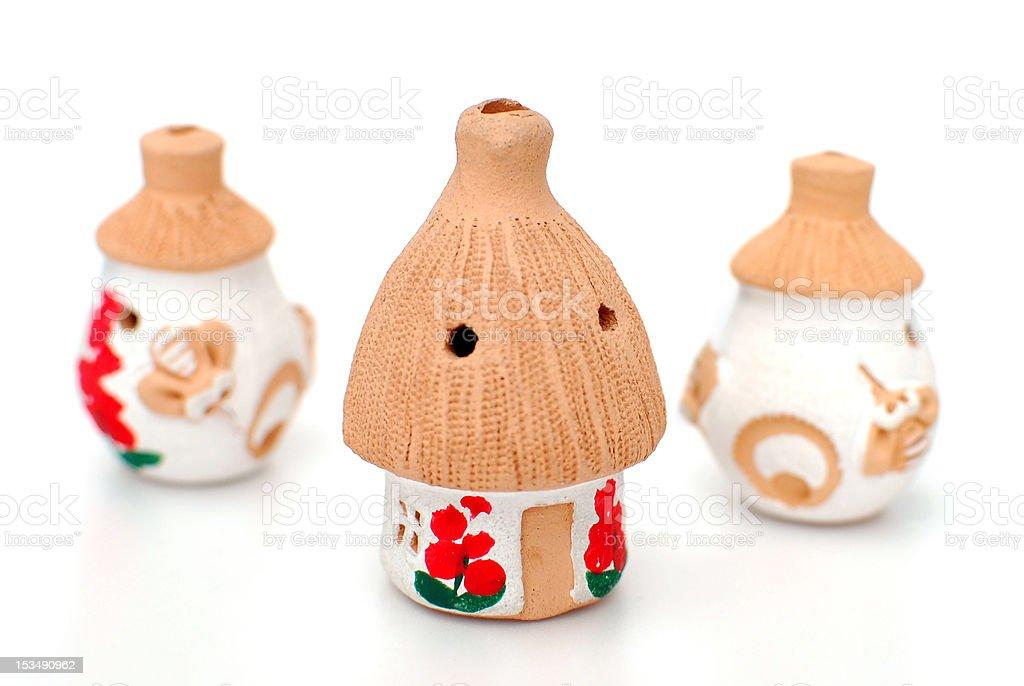 clay whistles in Ukrainian folk style stock photo