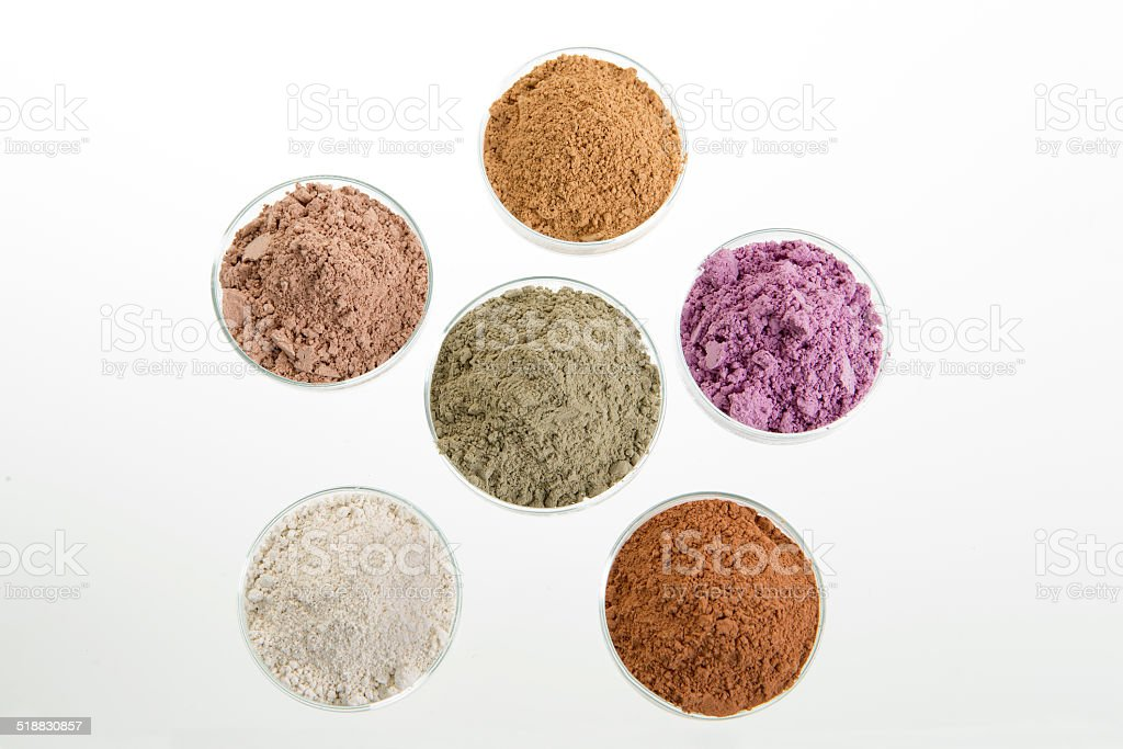 clays cosmetic palette for SPA and Body treatment stock photo