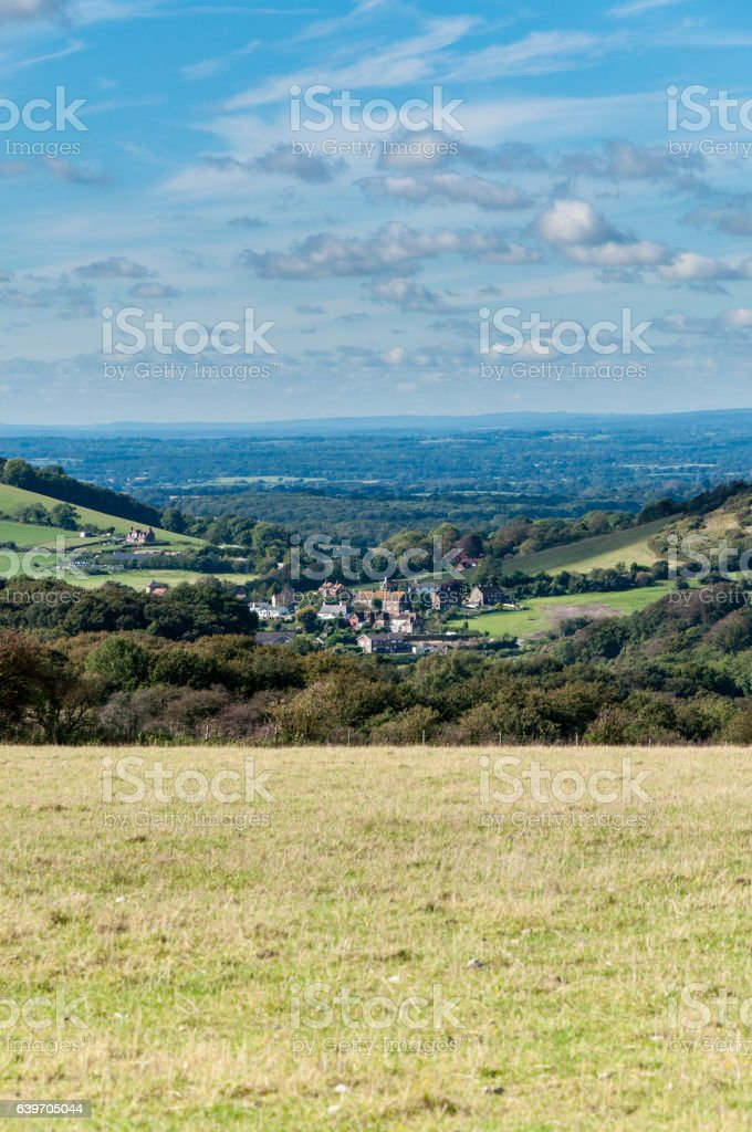 Clayton Village nestles in the South Downs stock photo