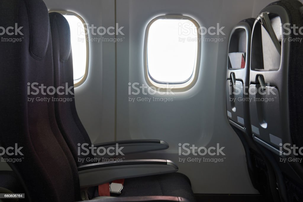 Clean airplane interior stock photo